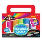 Cra-Z-Art Washable Sidewalk Chalk, Triangle Shaped, 48 Assorted Bright Colors, 48 Sticks/Set Product Image