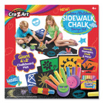 Cra-Z-Art Washable Sidewalk Chalk Design Set with Stamps, Stencils, and 4 ft x 2 ft Chalkboard Mat, 16 Assorted Colors Product Image