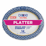 """Dixie Ultra Heavy Duty Disposable Dinnerware, Platter, 12.5"""" Diameter, Floral, Blue/Yellow/White, 12/Pack Product Image"""
