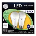 GE 75W LED Bulbs, 12 W, A19 Bulb, Soft White, 2/Pack Product Image