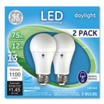 GE 75W LED Bulbs, 12 W, A19 Bulb, Daylight, 2/Pack Product Image
