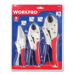 """Workpro Locking Pliers, 6.5"""" Straight Jaw, 7"""" Curved Jaw, 10"""" Curved Jaw, Chrome-Vanadium Steel, Blue/Red Quick-Lock Handle Product Image"""
