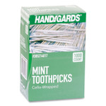 """Handgards Individually Wrapped Round Wood Mint Toothpicks, 4"""", Natural, 1,000/Box, 12 Boxes/Carton Product Image"""