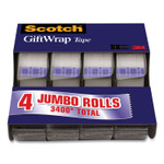 """Scotch Gift Wrap Tape with Dispenser, 0.75"""" x 23.61 yds., Transparent, 4/Pack Product Image"""