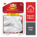 Command General Purpose Hooks, Large, 5 lb Capacity, White, 4 Hooks and 6 Strips/Pack Product Image