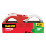 """Scotch Tough Grip Moving Packaging Tape with Dispenser, 3"""" Core, 1.88"""" x 38.2 yds, Clear, 2/Pack Product Image"""