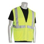 PIP ANSI Class 2 Four Pocket Zipper Safety Vest, Polyester Mesh, Hi-Viz Lime Yellow, 4X-Large Product Image