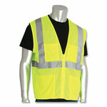 PIP ANSI Class 2 Four Pocket Zipper Safety Vest, Polyester Mesh, Hi-Viz Lime Yellow, 5X-Large Product Image
