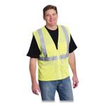 PIP ANSI Class 2 Four Pocket Zipper Safety Vest, Polyester Mesh, Hi-Viz Lime Yellow, Large Product Image