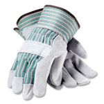 PIP Bronze Series Leather/Fabric Work Gloves, X-Large (Size 10), Gray/Green, 12 Pairs Product Image