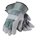 PIP Bronze Series Leather/Fabric Work Gloves, Large (Size 9), Gray/Green, 12 Pairs Product Image