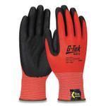 G-Tek KEV Hi-Vis Seamless Knit Kevlar Gloves, Medium, Red/Black Product Image