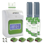 uPunch UB1000 Electronic Non-Calculating Time Clock Bundle, Beige/Green Product Image