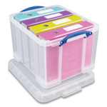 """Really Useful Box Snap-Lid Storage Bin, 8.45 gal, 14"""" x 18"""" x 12.25"""", Clear/Blue, 3/Pack Product Image"""