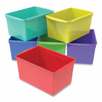 """Storex Double XL Wide Interlocking Book Bins, 9.2"""" x 14.5"""" x 7"""", Assorted Bright Colors, 6/Carton Product Image"""