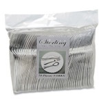 Tablemate Sterling Heavy-Duty Plastic Cutlery, Forks, Silver, 50/Pack Product Image