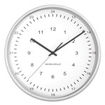 """Union & Scale Essentials 12/24 Atomic Round Wall Clock, 12"""" Overall Diameter, Gray Case, 1 AA (Sold Separately) Product Image"""
