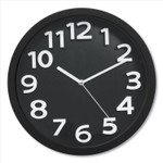 """Victory Light Wall Clock with Raised Numerals and Silent Sweep Dial, 13"""" dia, Black Case, Black Face, 1 AA (sold separately) Product Image"""
