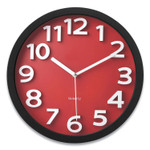 """Victory Light Wall Clock with Raised Numerals and Silent Sweep Dial, 13"""" dia, Black Case, Red Face, 1 AA (sold separately) Product Image"""