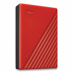 WD MY PASSPORT External Hard Drive, 4 TB, USB 3.2, Red Product Image