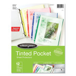 Wilson Jones Tinted Pocket Sheet Protectors, 3 Hole Punched, Top Loading, Letter, Assorted Colors, 12/Pack Product Image
