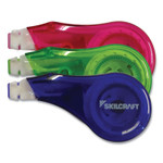 """AbilityOne 7510016919671 SKILCRAFT Correction Tape Recycled Mini-Dispenser, Non-Refillable, 1/5"""" x 394"""", Blue/Green/Red, 3/Pack Product Image"""