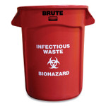 """Rubbermaid Commercial Round Brute Container with """"Infectious Waste: Biohazard"""" Imprint, Plastic, 32 gal, Red Product Image"""