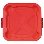 Rubbermaid Commercial Square BRUTE Lid, 21.88w x 21.88d x 2.13h, Red Product Image