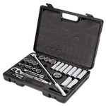 """Stanley Tools 26-Piece Mechanic's Tool Set, SAE, 1/2"""" Drive, 7/16"""" to 1 1/4"""", 6-Point/12-Point Product Image"""