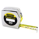 "Stanley Tools Powerlock Tape Rule, 1"" x 30ft, Plastic Case, Chrome, 1/16"" Graduation Product Image"