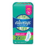 Always Ultra Thin Pads with Wings, Size 2, Long, Super Absorbent, 32/Pack, 3 Packs/Carton Product Image