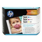 HP 564, (J2X80AN) Cyan/Magenta/Yellow Original Ink Cartridge w/Paper Product Image