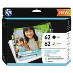 "HP 62 (K3W67AN) Black/Tri-Color Original Ink w/Photo Paper,30;4"" x 6"";15;5"" x 7"" Product Image"