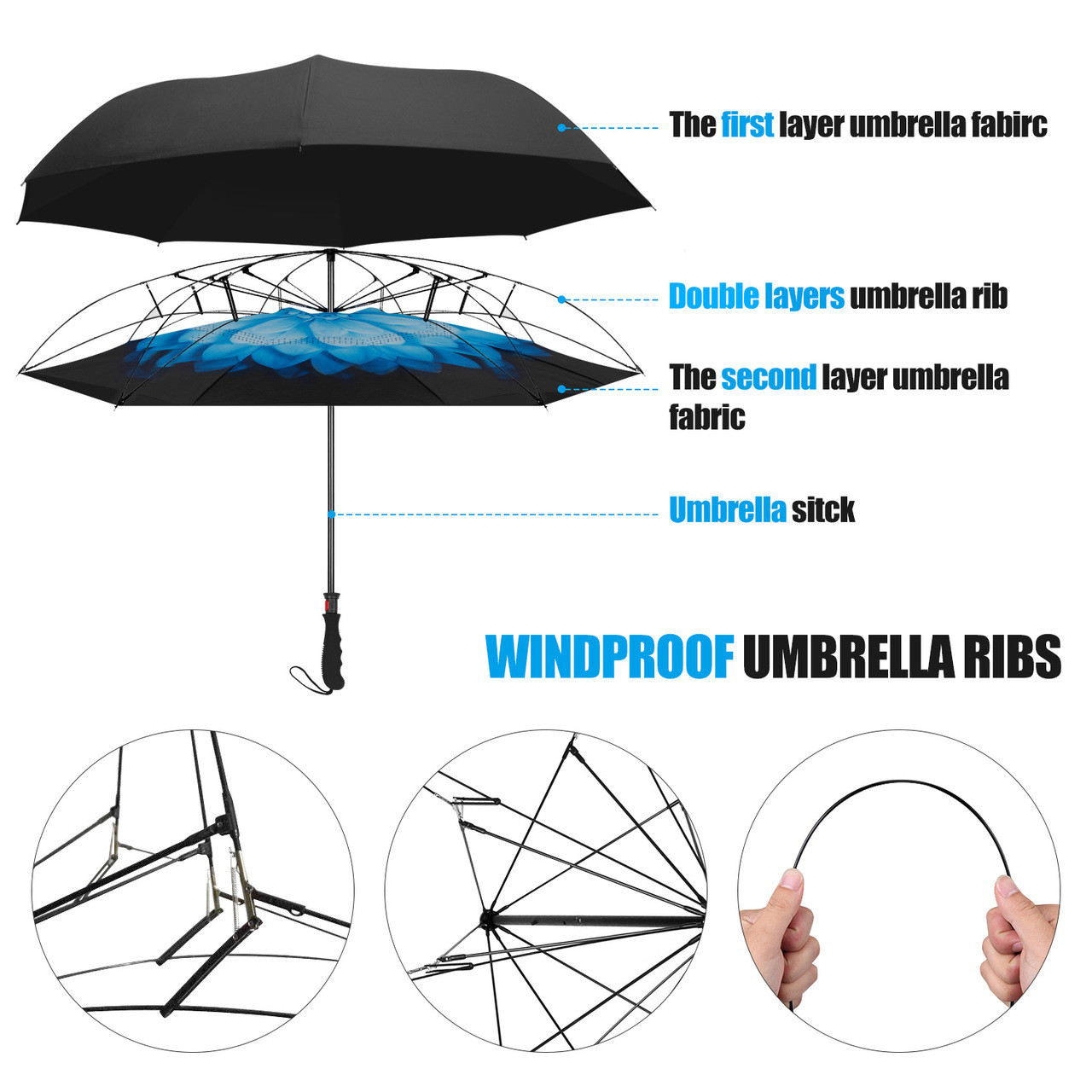 Double Layer Inverted Inverted Umbrella Is Light And Sturdy Golden Abstract Sparkles Glitter Lights Festive Reverse Umbrella And Windproof Umbrella E
