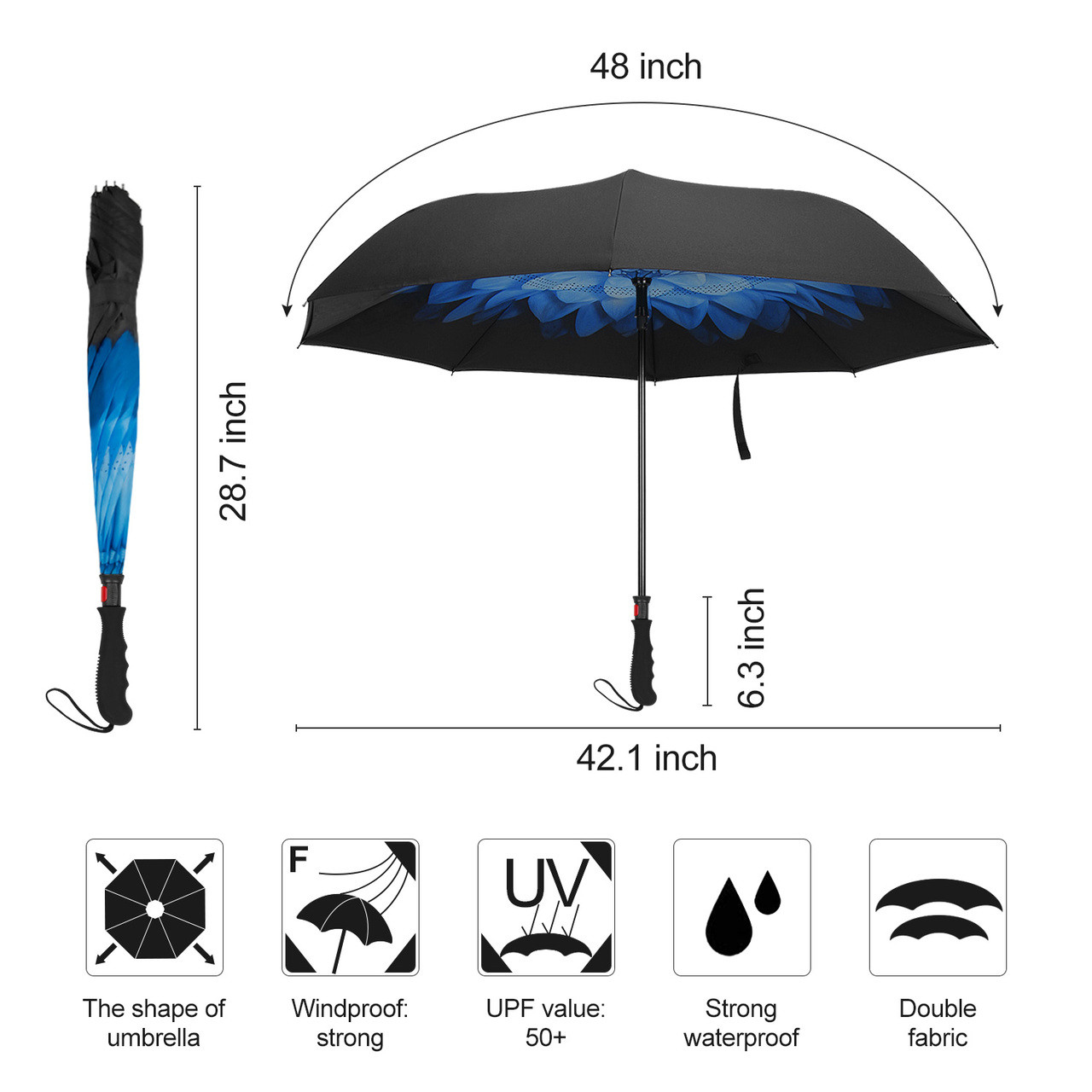 Double Layer Inverted Inverted Umbrella Is Light And Sturdy Abstract Circle Emblem Ukrainian Landmarks Symbols Reverse Umbrella And Windproof Umbrell