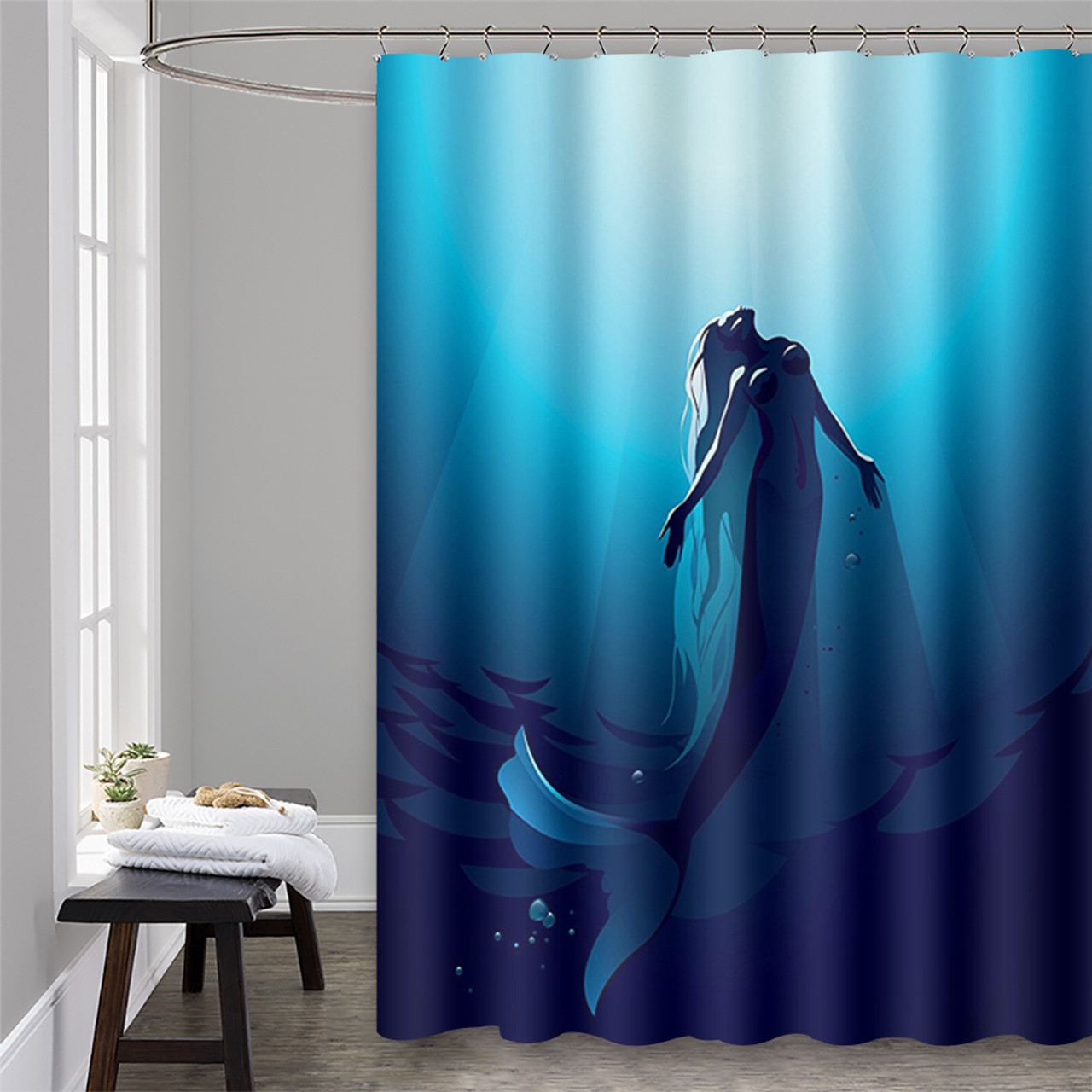 Shower Curtain With Hooks Mermaids 72 X 72 0035