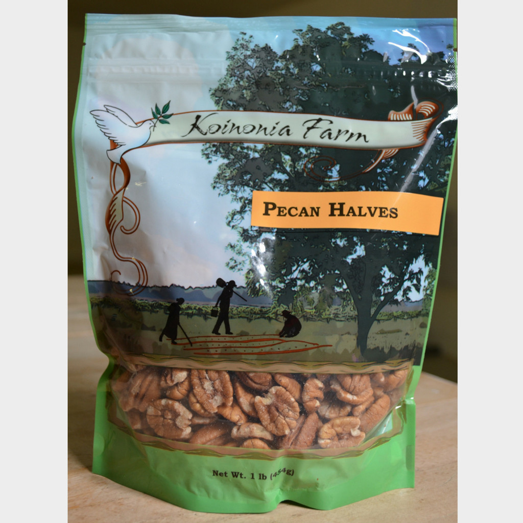 Koinonia Farm Shelled Pecan Halves 1 lb bag front