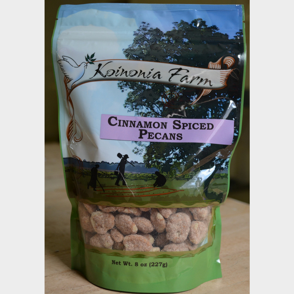 Koinonia Farm Cinnamon Spiced Pecans 8 oz bag front