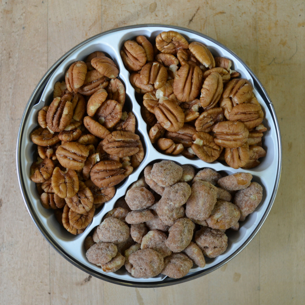 Pecan Sampler Tin with Biologically Grown Pecan Halves, Hickory Smoked Pecans, and Cinnamon Spiced Pecans