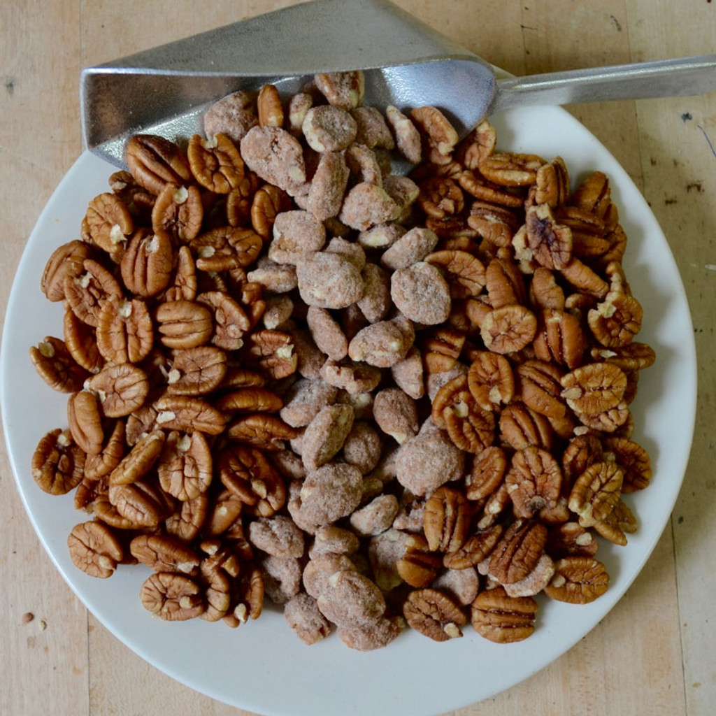 Pecan Sampler Tin with Biologically Grown Pecan Halves, Hickory Smoked Pecans, and Cinnamon Spiced Pecans above