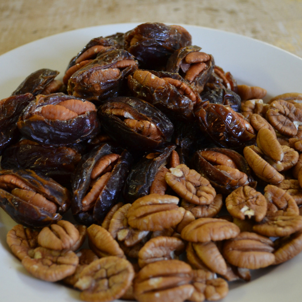 Koinonia Farm Pecan Stuffed Dates close up