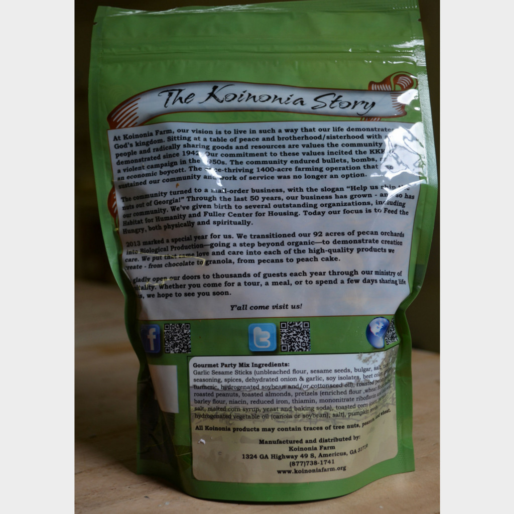 Koinonia Farm Handmade Gourmet Party Mix 8 oz Bag Back
