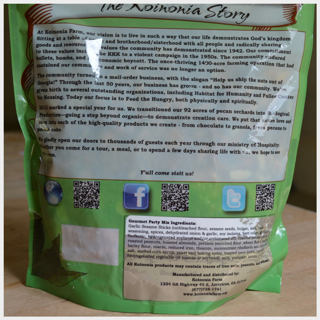 Koinonia Farm Handmade Gourmet Party Mix 1 lb Bag Back