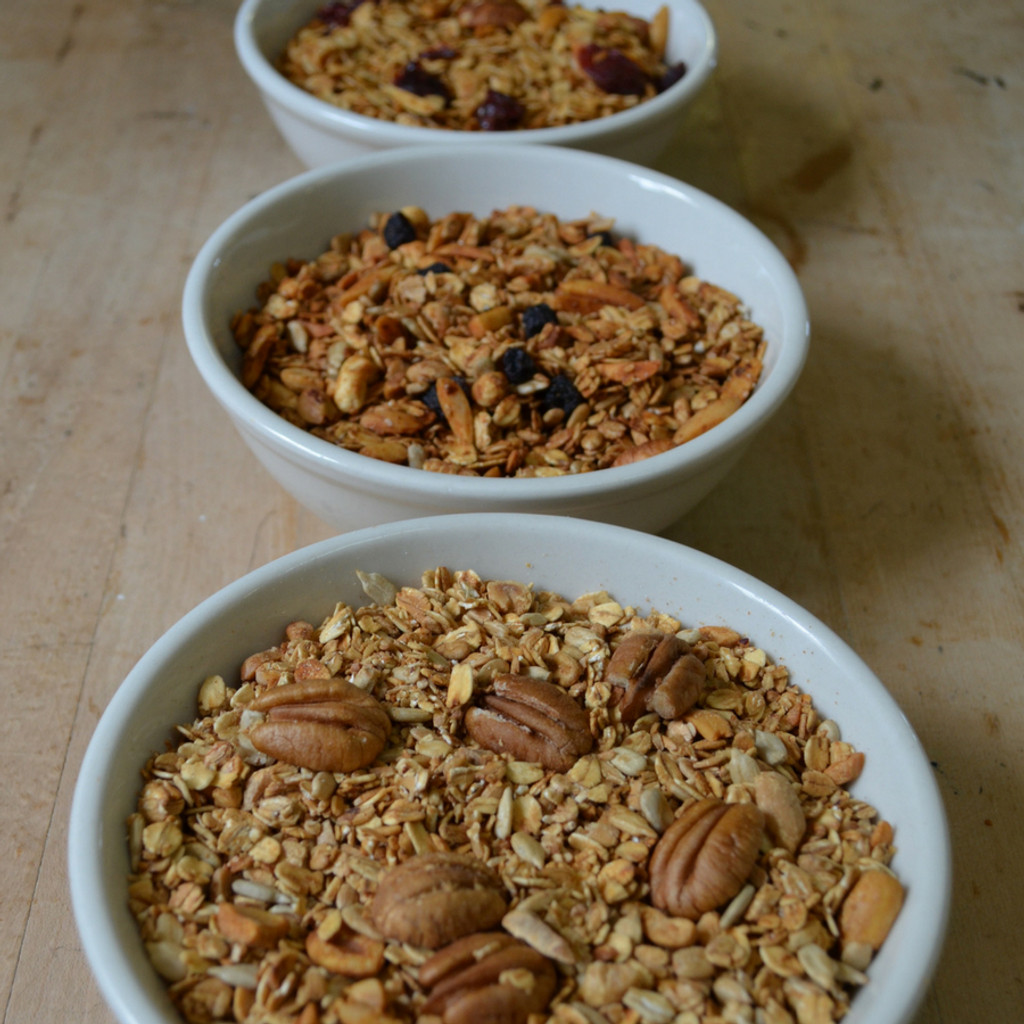 Koinonia Farm Granola Options- Oat Nut, Cranberry, Blueberry Close Up