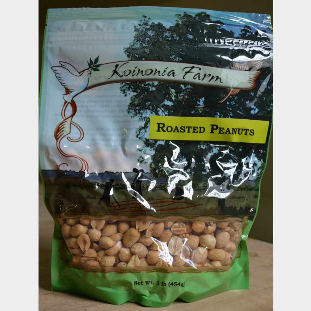 Koinonia Farm Organic Roasted Peanuts 1 lb Bag Front