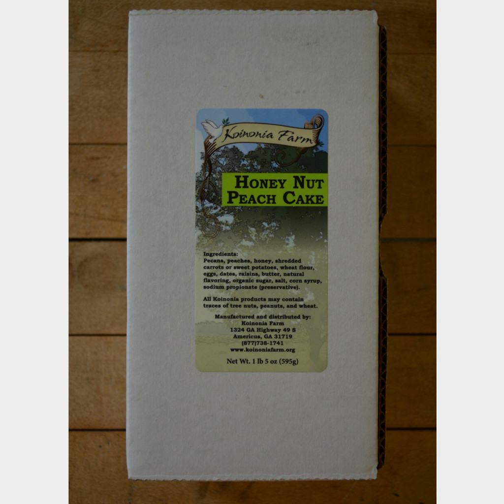 Koinonia Farm Homemade Honey-Nut Peach Cake packaging