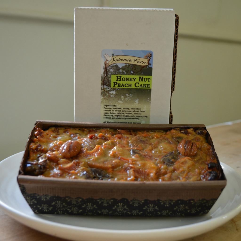 Koinonia Farm Homemade Honey-Nut Peach Cake Full loaf with box