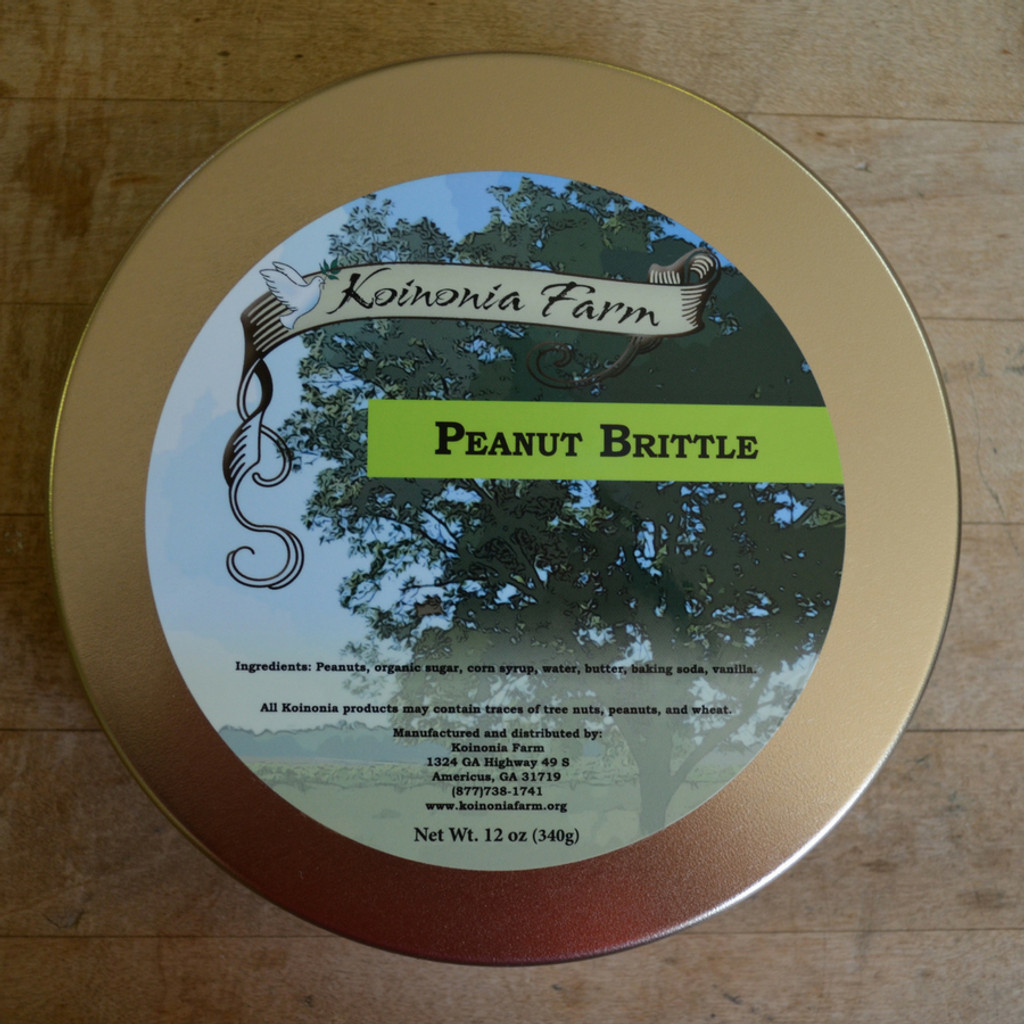 Koinonia Farm Handmade Peanut Brittle 1 lb. Reusable Tin