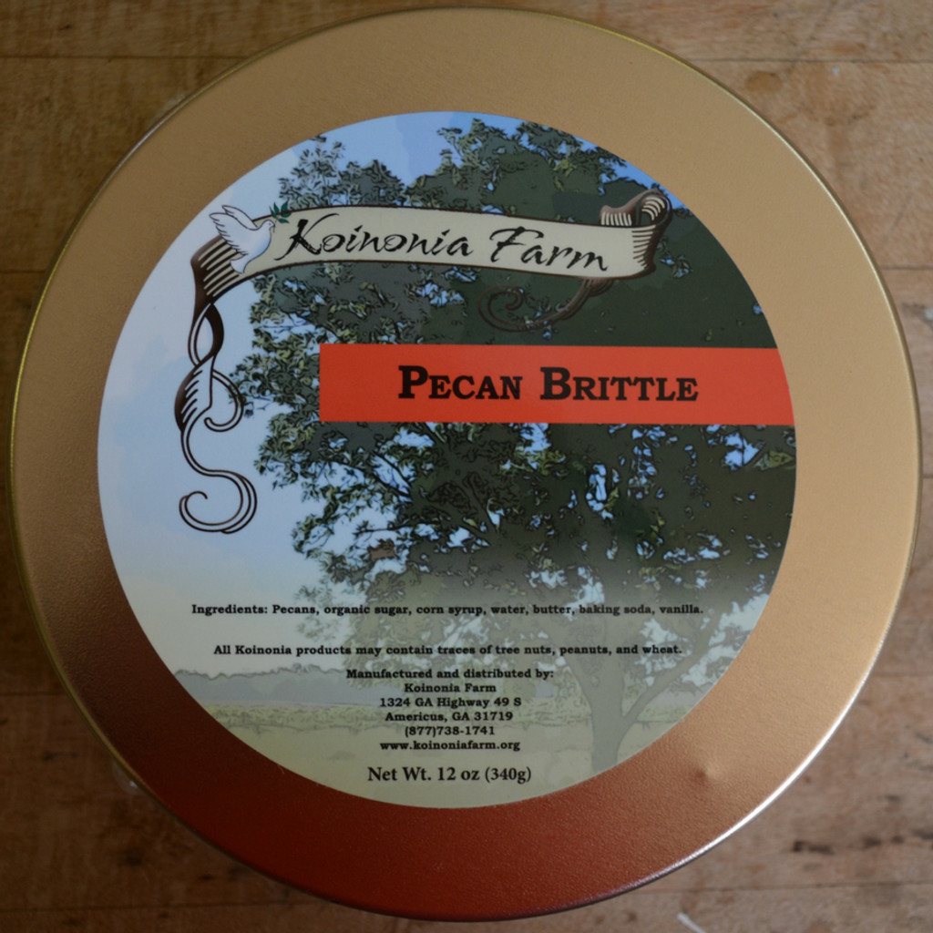 Koinonia Farm Pecan Brittle 1 Lb. Reusable Tin