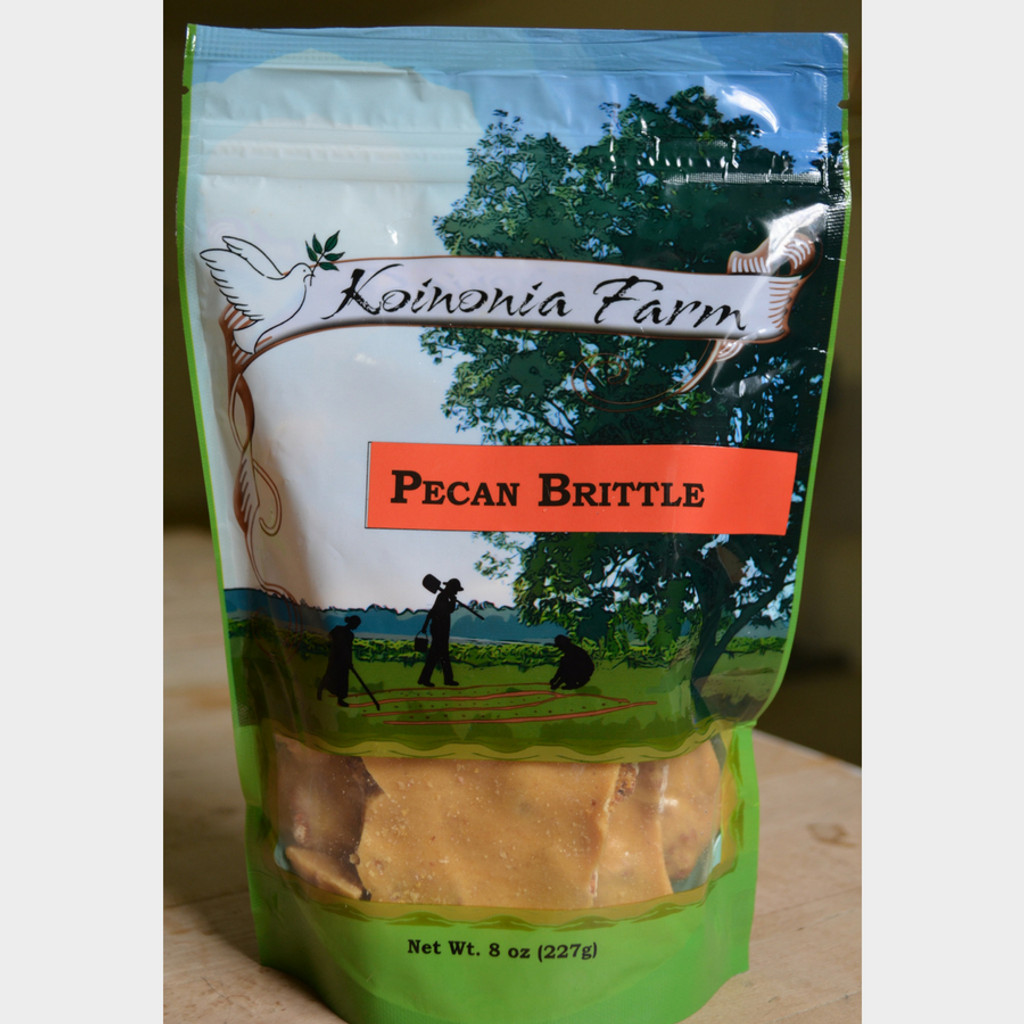 Koinonia Farm Pecan Brittle 8 oz Bag Front Bag